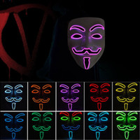 Wholesale full face metal masks for sale - Group buy 10 color V for Vendetta Masks LED glow mask Halloween mask party masquerade dance decorated Scary masks ZZA1092