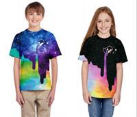 подростковые мальчики шорты оптовых-Новая мода Галактика пространство залить молоко подростки футболка для мальчиков девочек 3D печатный один кусок с коротким рукавом футболка лето футболка