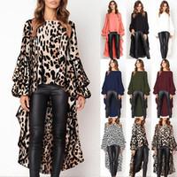 ingrosso lunghe camicette sciolte-Abiti per le donne 2019 Womens Leopard Front Short Back Long Shirt Dress Ladies autunno sciolto Top Camicetta