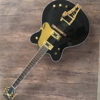 Wholesale guitar tremolo gold resale online - Black Electric Guitar with Gold Pickguard Ebony Fretboard Tremolo System Gold Hardwares offering customized services