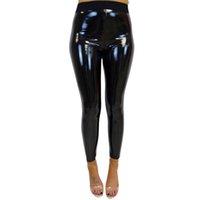 parlak polyester pantolonlar toptan satış-Kadın Lady Yüksek Bel Sıkı Parlak Spor Spor Tozluklar Pantolon Pantolon Bottoms Pantolon Mallas Mujer # E3