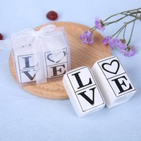 Wholesale love pots for sale - Square Shape Ornaments Love Seasoning Pot Practical Wedding Favors Party Gifts Valentines Day Black Font Exquisite Packaging tzC1