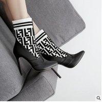 avrupa'da çizmeler toptan satış-2019 Avrupa ve Amerika Birleşik Devletleri yeni moda yün örgü renk eşleştirme yüksek topuk bayan botları