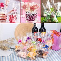 Wholesale cello bows for sale - Group buy 6 quot X quot Clear Cellophane Treat Bags Clear Resealable Flat Cello Bags Sweet Party Gift Bags OPP Plastic Bag with Mix Colors Pull Bows