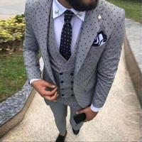 Wholesale yellow suit design for sale - Group buy 2019 Men s Poika dot Suit Pieces latest coat pant designs Notch Lapel Tuxedos Groomsmen Tux For Wedding party Suits Blazer vest Pants