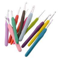 conjunto de agujas de punto al por mayor-9 Unid / set Gancho de Ganchillo de Metal Kit de Plantillas de Ganchillo TPR Agujas de Tejer de Crochet herramienta con mango suave Artesanía GGA2003