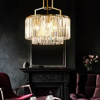 Wholesale led bulb mount for sale - Group buy New arrival European copper crystal chandelier lighting luxury gold pendant chandeliers with led bulbs for bedroom dinning room hallway