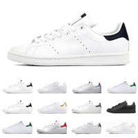 erkekler beyaz düz ayakkabılar toptan satış-2020 adidas stan smith erkekler kadınlar flats sneakers yeşil üçlü siyah beyaz lacivert kırmızı gökkuşağı erkek moda deri ayakkabı açık rahat yürüyüş