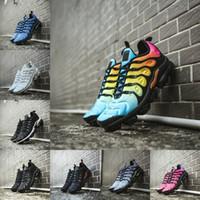 usa zapatos nuevos al por mayor-2019 Nike air max Vapormax Tn plus New airmax Tn flyknit Rojo Violeta Azul Tropical Sunset Triple Negro Blanco Mujeres Zapatillas de deporte Barato Air Tn Requin Cushion Shoes