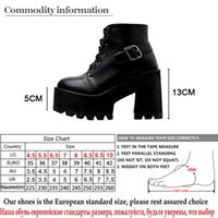 ingrosso black round toe high heel-Gdgydh Spring Black Ankle Booties Shoes Women Round Toe Platform Autumn Boots Thick High Heels Lace Up And Buckle Ladies Shoes