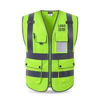 abrigo de tráfico al por mayor-Escudo chaleco reflectante Sitio de la construcción protección de la seguridad libera la capa de Tráfico verde fluorescente