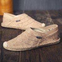 льняное полотно оптовых-Мужская обувь 2019 New Flax Canvas Shoes Мужская обувь из льна Canvas