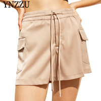 bermuda calções venda venda por atacado-YNZZU 2019 venda Hot Summer cintura alta bermuda mulheres causal com mancha cinto mini shorts Chic cintura elástica Bottoms YB339
