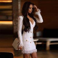 vestidos brancos para discoteca venda por atacado-Mais recente Moda Celebridade Festa À Noite Bodycon Vestido Mulheres Branco Manga Comprida Com Decote Em V Borla Sexy NightClub Vestido Mulheres Vestidos
