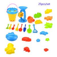 plaj oyuncakları bebeğim toptan satış-25 Adet / takım Yeni Bebek Çocuk Sandy plaj Oyuncak Tarama aracı Plaj Kova Kale Hayvan kalıp Yaz Bebek kum su oyuncakları ile oynarken B