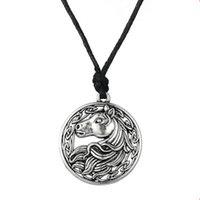 klasik gümüş at kolye toptan satış-Antik Gümüş İrlandalı Düğüm At Başkanı Kolye Vintage Slav Muska Kolye Ayarlanabilir Halat Takı