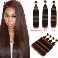 açık kahverengi saç uzantıları toptan satış-8A Vizon Brezilyalı Düz Virgin Saç wefts 2. / 4. Virgin Brezilyalı Saç Dokuma Paketler Hafif Koyu Kahverengi Renkli İnsan Saç Uzantıları