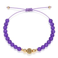cristal morado negro al por mayor-Purple Nature Stone Beads Flash Black Zircon Crystal Copper Ball Strand Pulsera Mujeres Femme Hombres Simple Bastante Bonita Joyería Su