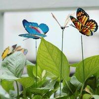 yard stakes großhandel-15 Teile / los Künstliche Schmetterling Garten Dekorationen Simulation Schmetterling Stakes Yard Plant Lawn Decor Gefälschte Butterefly Zufällige Farbe