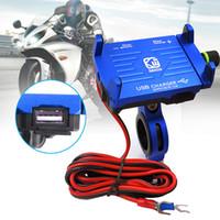 передвижная подставка для мотоциклов оптовых-Универсальный держатель телефона для мотоциклов с зарядным устройством USB 12 В 24 В 2.5A Алюминий 360 Вращающиеся стойки для 4-7 дюймов мобильного телефона