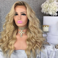 Wholesale blonde long synthetic wigs fashion resale online - Fashion Hair Blonde Ombre Lace Front Wig Synthetic inch Long Body Wave Wigs with Dark Root for Women Heat Resistant Fiber Density