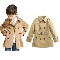 ingrosso cappotti da bambino tench-bambini vestiti firmati ragazzi ragazze Outwear bambini Inghilterra Style Tench Coats Primavera Autunno Doppio petto giacca a vento C6900