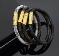 gewebtes gold leder armband großhandel-18 Karat Gold Titan Stahl Leder Herren und Damen Luxus Armbänder LOVE Armband, gewebtes Armband L Stil