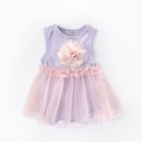 Wholesale flower rompers resale online - 2019 Newborn Infant clothing Flower Tulle Bodysuit Rompers Baby girl clothes Sleeveless Soft cotton Summer