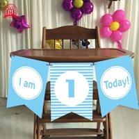 bebek sandalyeleri toptan satış-Erkek Kız Ilk Doğum Günü Karton mavi pembe Yüksek Sandalye Bayrak Banner Bebek Bir Yaşında Doğum Günü Asılı Dekorasyon