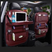 sièges volkswagen achat en gros de-Sac de rangement en cuir PU Sac de siège arrière Organisateur Pliable Table Plateau Sac de rangement de voyage Pliable Table à manger Sac de rangement de siège de voiture