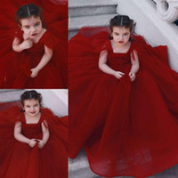 vestidos de noiva para crianças vermelhas venda por atacado-Flower Girl Dresses Red vintage para a varredura de casamento de trem Plus Size Crianças Partido Pageant Vestidos Princesa Robes De Fête