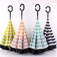 Wholesale Umbrella - Double inverted umbrella, navy pattern, windproof, anti-UV, inverted umbrella, large C hook handle, beach umbrella, sunshade
