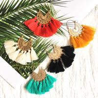 mexikanische ohrringe großhandel-Cocowillow große Quaste handgemachte ethnische Creole mexikanischen traditionellen fühlen wie Ohrringe, Tribal Boho Ohrringe für Großhandel