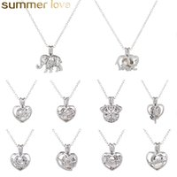 Wholesale 10 Styles Love Wish Pearl Cages Locket Necklace Hollow Out Oyster Pearl Pendant Necklaces Freshwater Pearl Elephant Dog Mom Heart DIY Jewelr