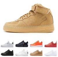 sapatos brancos pretos para senhoras venda por atacado-2019 One 1 Dunk Utility Homens Senhora Sapatos Casuais de Skate Branco Preto Apenas Trigo Laranja Mulheres Homens Alta Baixa Sapatos de Plataforma de Corte Sapatilha