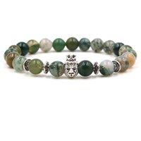 ingrosso fascini indiani buddha-Bracciale pietra abbastanza indiana Agat naturale Owl elegante Leopard Corona leone Testa del Buddha Charm Beads 8mm tratto braccialetto Bracciali