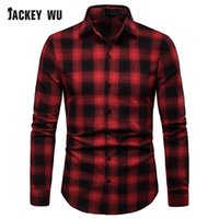 корейское платье с длинным рукавом оптовых-JACKEYWU  Casual Shirts Men 2019 Korean Fashion Plaid Long Sleeve Men's Slim Gentleman Dress Social Business Camisa Cotton