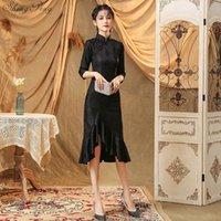 dantel şık cheongsam toptan satış-2019 Modern Cheongsam Kadınlar Kısa Dantel Qipao Çin Elbise Qi Pao Parti Vintage Ao Dai Şık Elbise Yüksek Kaliteli V1833 geliştirin