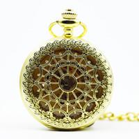relógio de bolso novo esqueleto venda por atacado-New Skeleton Men Ouro Mecânica Pocket Watch Cadeia Colar Moda Casual Fob Bolso Relógios PJX1288
