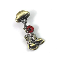 Wholesale vintage pin brooch for sale - Group buy Helmet Rifle Boots and Red Poppy Flower Lapel pins Badges Bronze Vintage Remembrance Day Armistice Day Brooch Stay away from war Jewelry