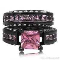 conjunto de jóias de topázio rosa venda por atacado-Bijuterias Rosa 6 * 6 milímetros Princesa-cut Topaz dedo anéis de pedras preciosas set-2-em-1 Luxury 10KT Black Gold Filled Anel de noivado por Mulheres presente