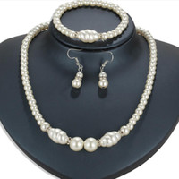 Wholesale mother pearls jewelry set for sale - Group buy desigenr jewelry pearl jewelry sets crystal helical pearl necklaces earrings bracelets for women classic hot fashion