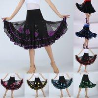 vestidos latin da dança do sequin do salão de baile venda por atacado-Mulheres Patchwork Dança Prática Desempenho Dance Dress Latin Ballroom Lantejoulas Flor Big Swing Dress