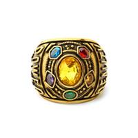 gros anneaux de strass pour les femmes achat en gros de-Marvel Avengers Infinity War Big Rhinestones Anneau Thanos Or-couleur Punk Anneaux pour Femmes Hommes Fans Souvenir Anniversaire Cadeau