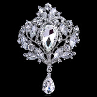 Wholesale large clear rhinestone brooch pin resale online - Beautiful Large Size Silver Gold Color Plated Clear Crystal Rhinestone Drop Brooch Pin Jewelry Gifts for Women Wedding Brooch