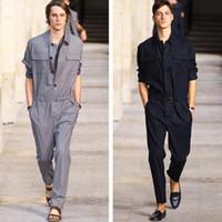 erkekler tasarımcısı tulumları toptan satış-Tulum Erkekler Tulum Tek Parça Tulum Pamuk Erkek Pist Tasarımcısı Uzun Kollu Rahat Moda Erkek Set Kıyafet giyim Tulumlar