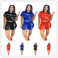 Wholesale sheer yoga pants online - S XL Women Champions Shorts Set Tracksuit Summer Short Sleeve T Shirt Tops Shorts Pants Outfit Sportswear Joggings Suit Hot A425