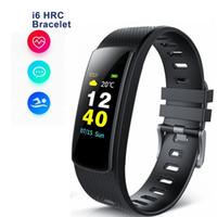 i6 smart armband großhandel-I6 HRC Smart Armband Fitness Tracker Farbbildschirm Fitness Uhr Aktivitäts Tracker Smart Band Pulsuhr Bluetooth Armband