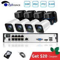 8ch ip kamera kit nvr großhandel-4-Kanal-5MP POE PTZ Kit H.265-System CCTV-8ch NVR 2TB HDD im Freien wasserdichten 4-fach optischer Zoom IP-Kamera-Überwachung Video
