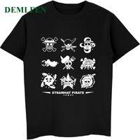 vintages t-shirt hip hop großhandel-Sommer Herren Kurzarm Oansatz T Shirt Emblem One Piece Anime Vintage T-Shirt Männlich Coole Shirts Hip Hop Tees Streetwear